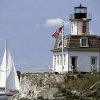Rose Island Lighthouse, Narragansett Bay, Newport, Rhode Island, USA