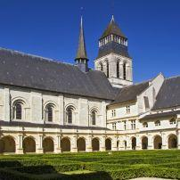 Garden, Courtyard, Blue Sky, Abbaye de Fontevraud, The Loire Valley, France
