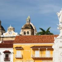Statue, Rooftops, Old Town, Cartagena, The Caribbean Coast, Colombia