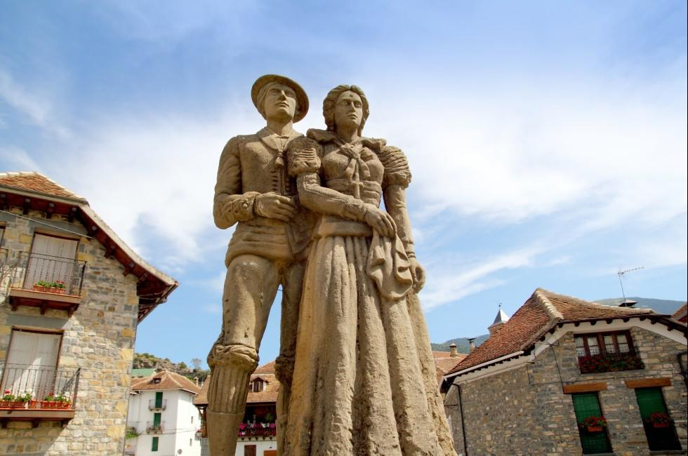 Statue, Hecho, The Pyrenees, Spain