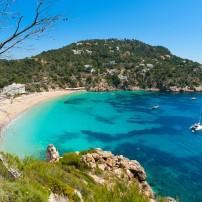 Beach, Boats, Aerial, Cala de Sant Vicent, Ibiza, Spain