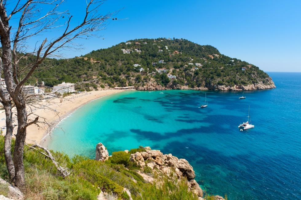 Beach, Boats, Aerial, Cala de Sant Vicent, Ibiza, Spain
