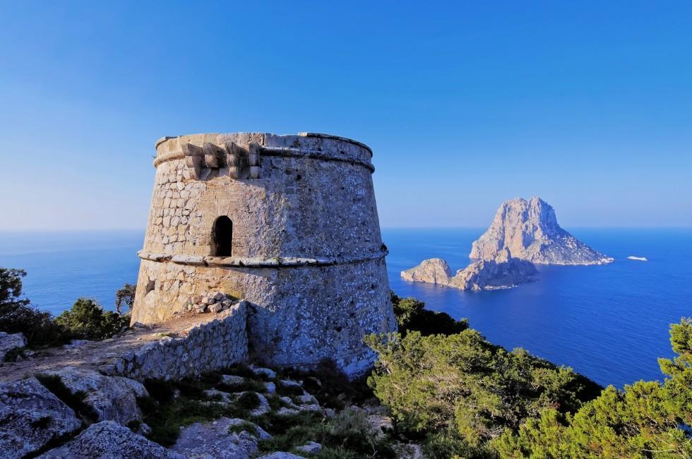 Overlook, Cliff, Ruin, Tower, Torre des Savinar, Ibiza, Spain