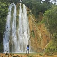 Woman, Waterfall, El Limon, Dominican Republic, Caribbean