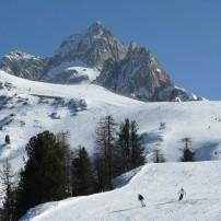 Skiers, Mount Faloria, Cortina d'Ampezzo, The Dolomites, Italy