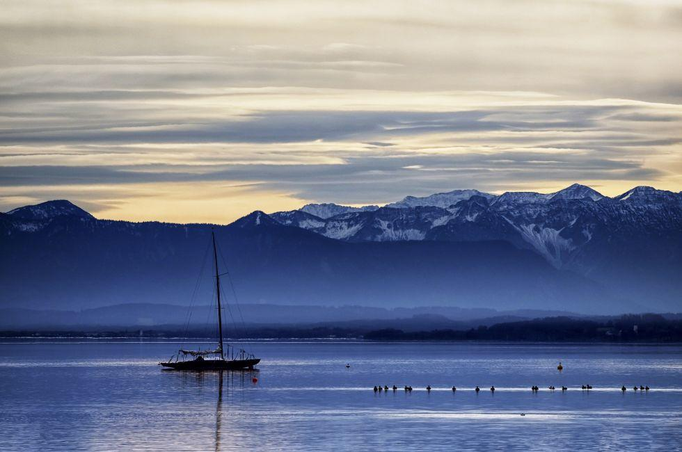 Dusk, Boat, Lake, Alps, Starnbergersee, Munich, Germany