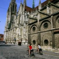 Bikers, Regensburg Cathedral, Regensburg, Franconia and the German Danube, Germany
