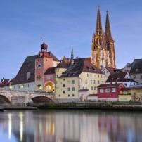 Regensburg Cathedral, Danube, Dusk, Regensburg, Bavaria, Germany