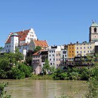 Inn River, Church, Wasserburg am Inn, Munich, Bavaria, Germany
