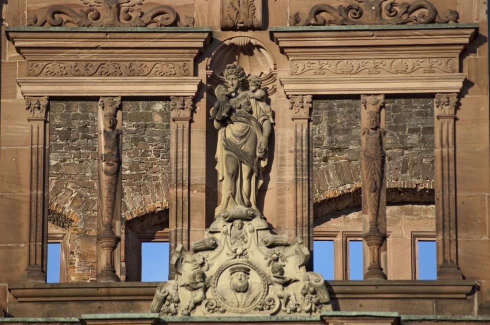 Statue, Heidelberg Castle, Heidelberg;, Germany