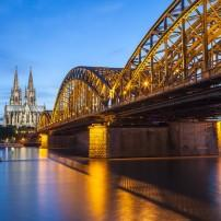 Cologne Cathedral, Hohenzollern Bridge, Dusk, Cologne, Germany