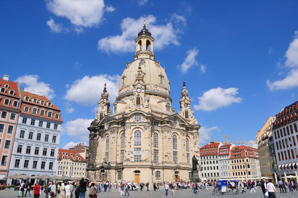 Frauenkirche, Dresden, Saxony, Saxony-Anhalt, and Thuringia, Germany, Europe.