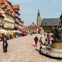 Martketplatz, Quedlinburg, Saxony, Saxony-Anhalt, and, Thuringia, Germany, Europe.
