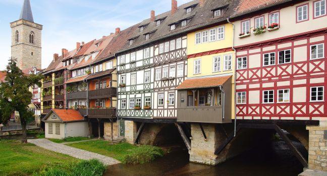 Krämerbrücke, Erfurt, Saxony, Saxony-Anhalt, and, Thuringia, Germany, Europe.