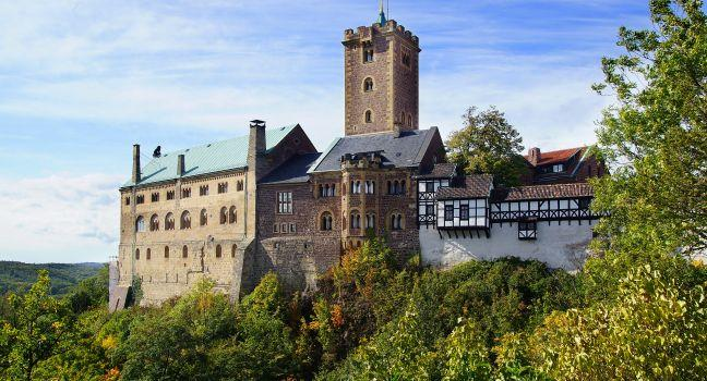 Wartburg Castle, Eisenach, Saxony, Saxony-Anhalt, and, Thuringia, Germany, Europe.