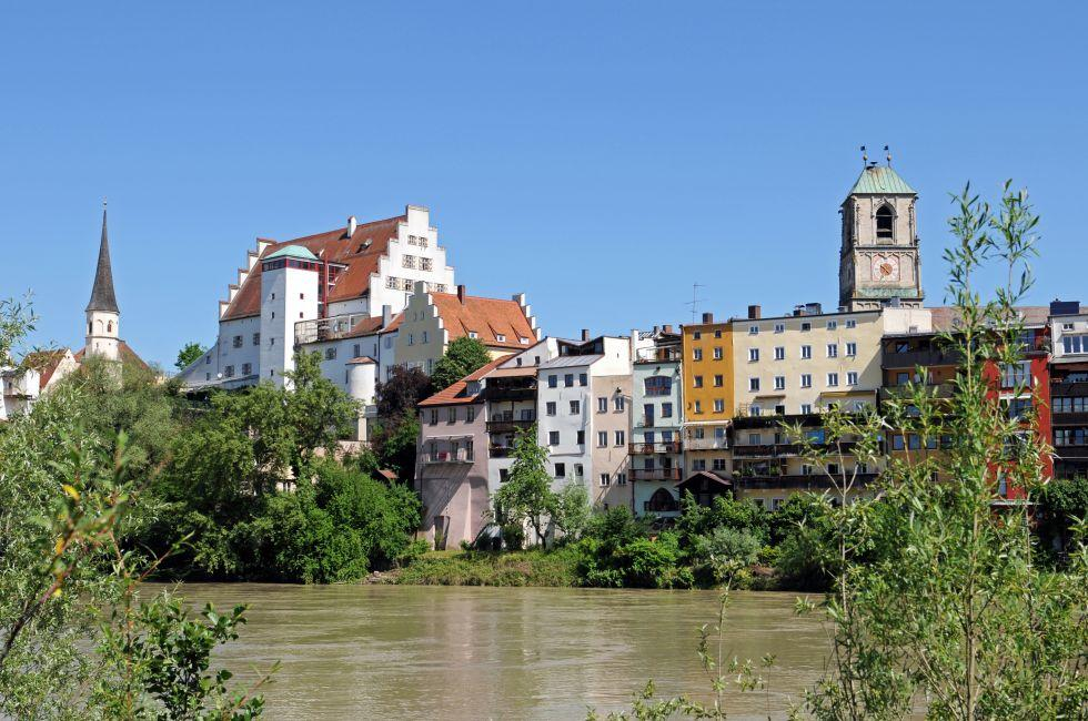 Inn River, Church, Wasserburg am Inn, Munich, Bavaria, Germany