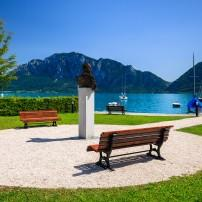 Statue, Benches, Waterfront, Attersee Lake, Austria