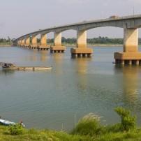 Boat, Mekong River, Bridge, Kampong Cham, Cambodia