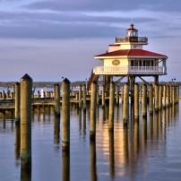 Choptank River Lighthouse, Dusk, Cambridge, The Eastern Shore, Maryland