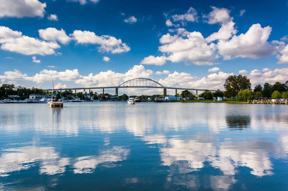 Bridge, Chesapeake City Bridge, Chesapeake and Delaware Canal, Chesapeake City, Maryland