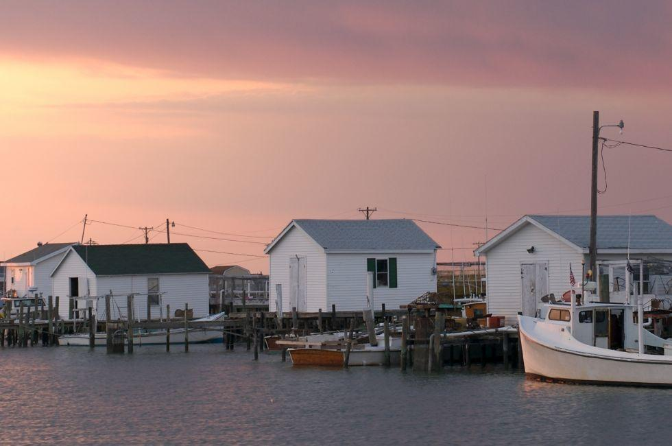Boats, Houses, Tangier Island, Virginia