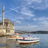 Ortakoy Mosque, The Bosphorus and Besiktas, Istanbul, Turkey