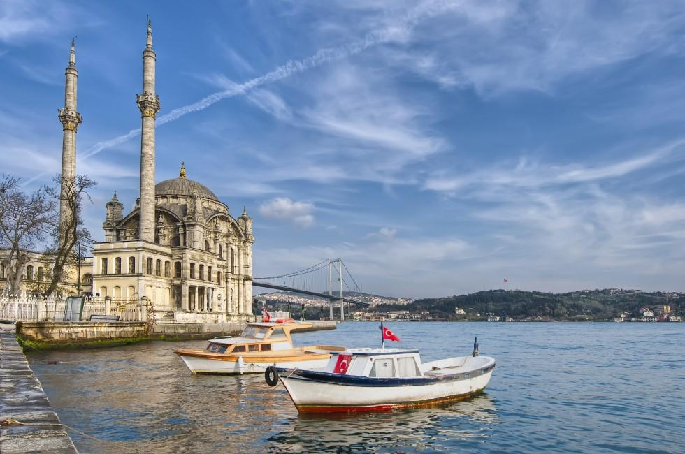 Ortakoy Mosque, The Bosphorus and Besiktas, Istanbul, Turkey