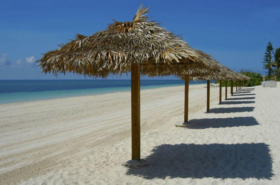 Beach Umbrellas, Beach, Freeport, Grand Bahama Island, The Bahamas, Caribbean