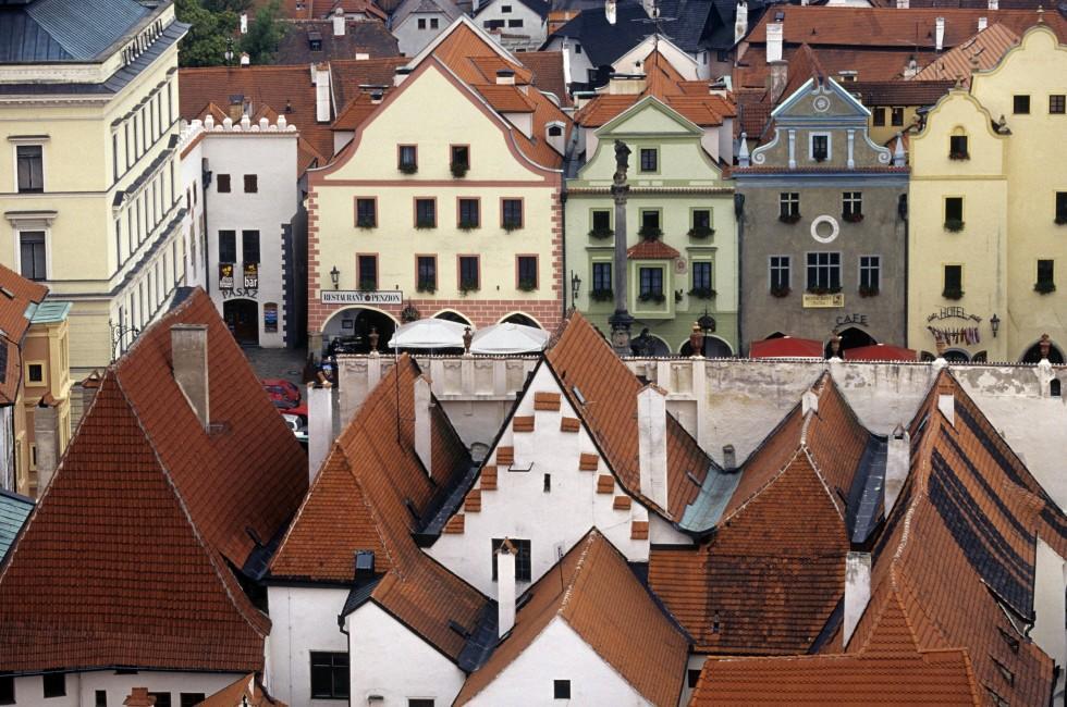 Houses, Cesky Krumlov, Southern Bohemia, Czech Republic