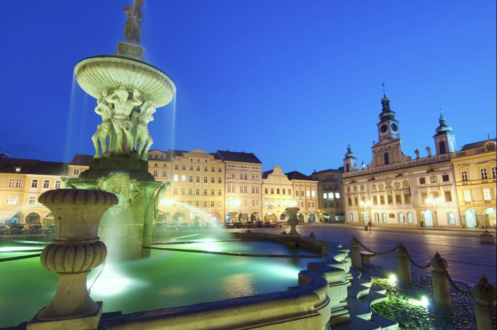 Night, Fountain, Ceske Budejovice, Southern Bohemia, Czech Republic