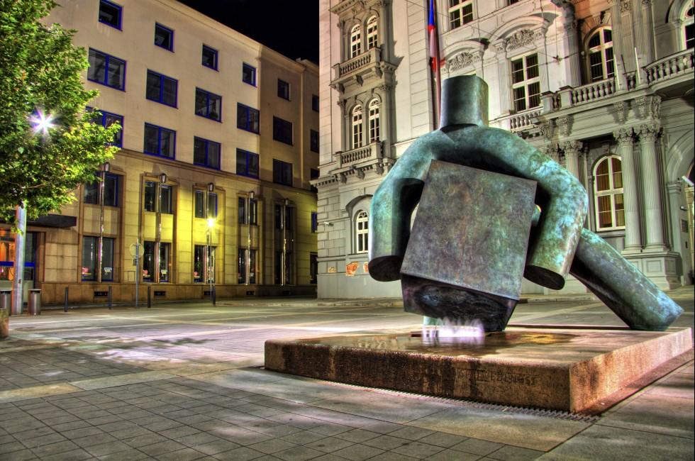 Night, Statue of Justice, Moravian Square, Brno, Czech Republic