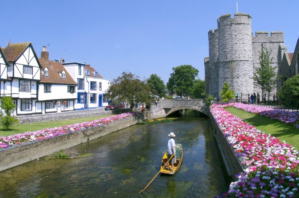Boat, Moat, Canterbury Castle, Canterbury, The Southeast, England