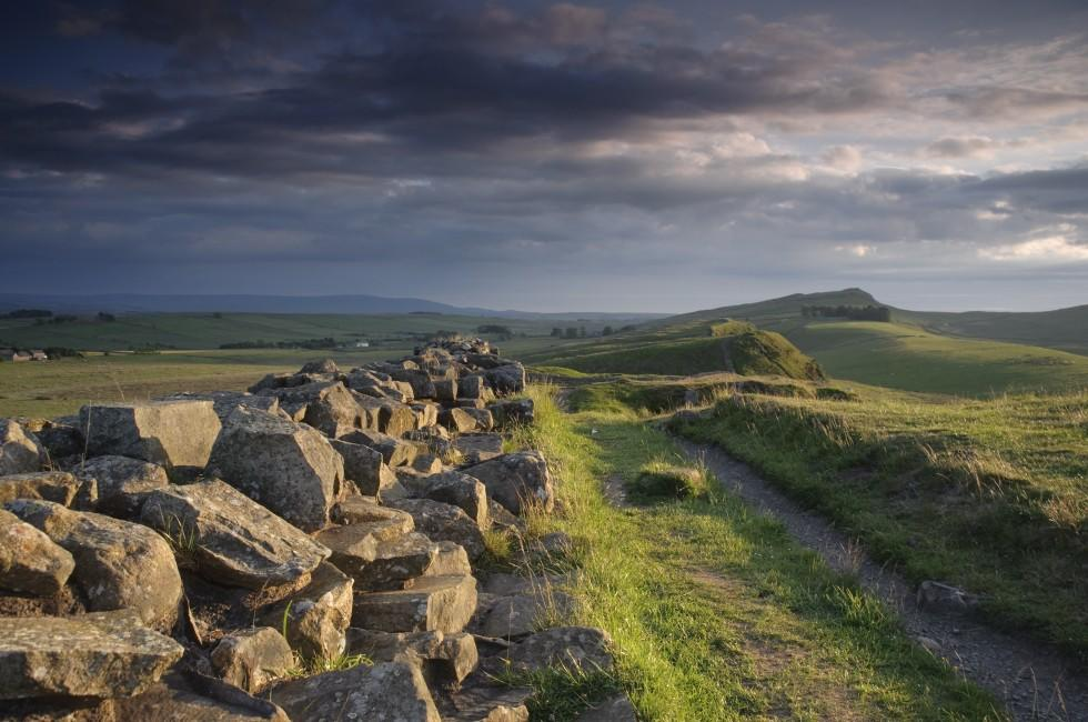 Dusk, Path, Hadrian's Wall, Northumberland, The Northeast, England