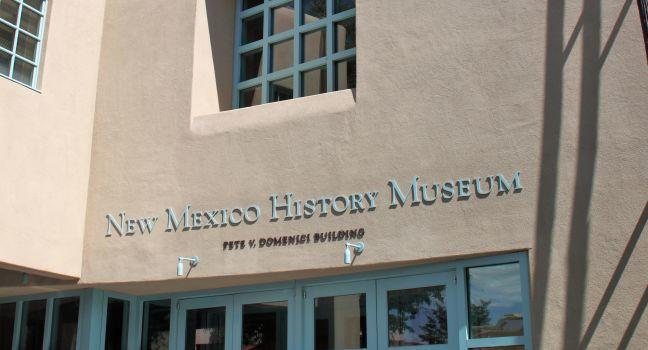 Entrance, The New Mexico History Museum, Santa Fe, New Mexico, USA