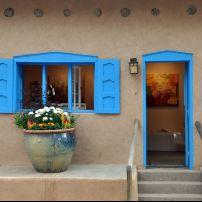 Door, Gallery, East Side and Canyon Road, Santa Fe, New Mexico, USA