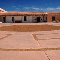 Plaza, Adobe, Museum Hill, Santa Fe, New Mexico, USA