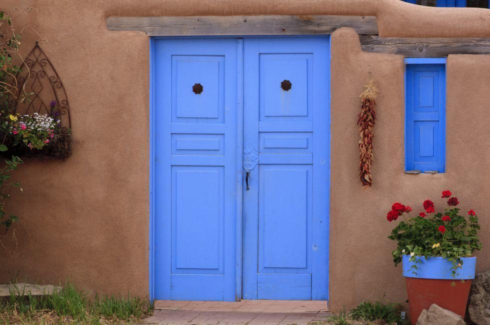 Blue Door, Adobe Building, Rancho de Taos, New Mexico
