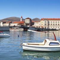 Boat, Bridge, Church, Waterfront, Trogir, Split and Central Dalmatia, Croatia