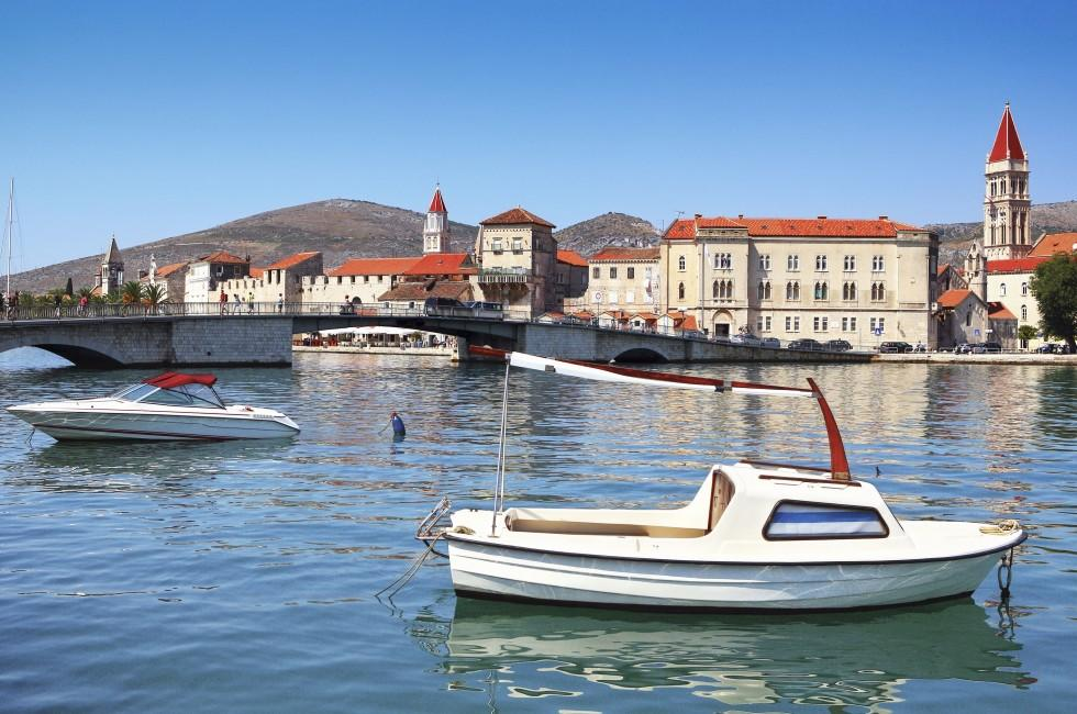 Boat, Bridge, Church, Waterfront, Trogir, Split and Central Dalmatia, Croatia