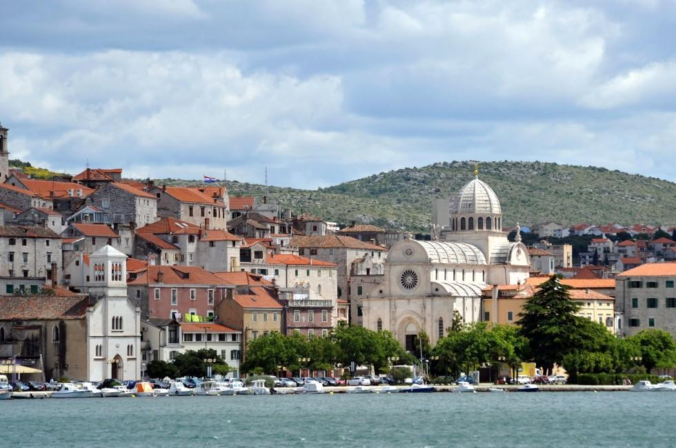 Waterfront; St. James Cathedral, Sibenik, Split and Central Dalmatia, Croatia