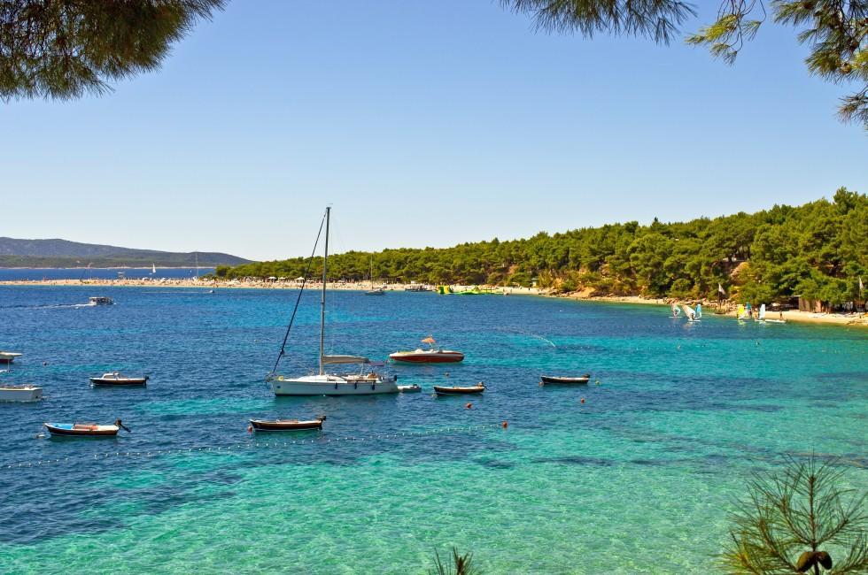 Yachts, Zlatni Rat Beach, Crac Island, Croatia