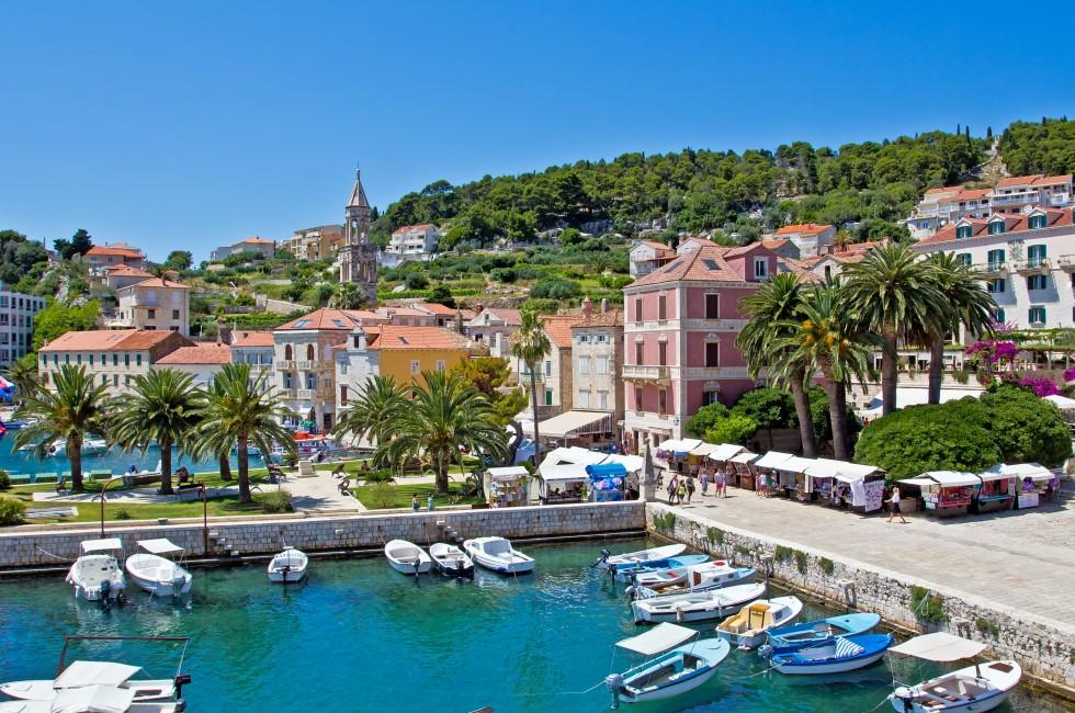 Boats, Bay, Hvar, Croatia