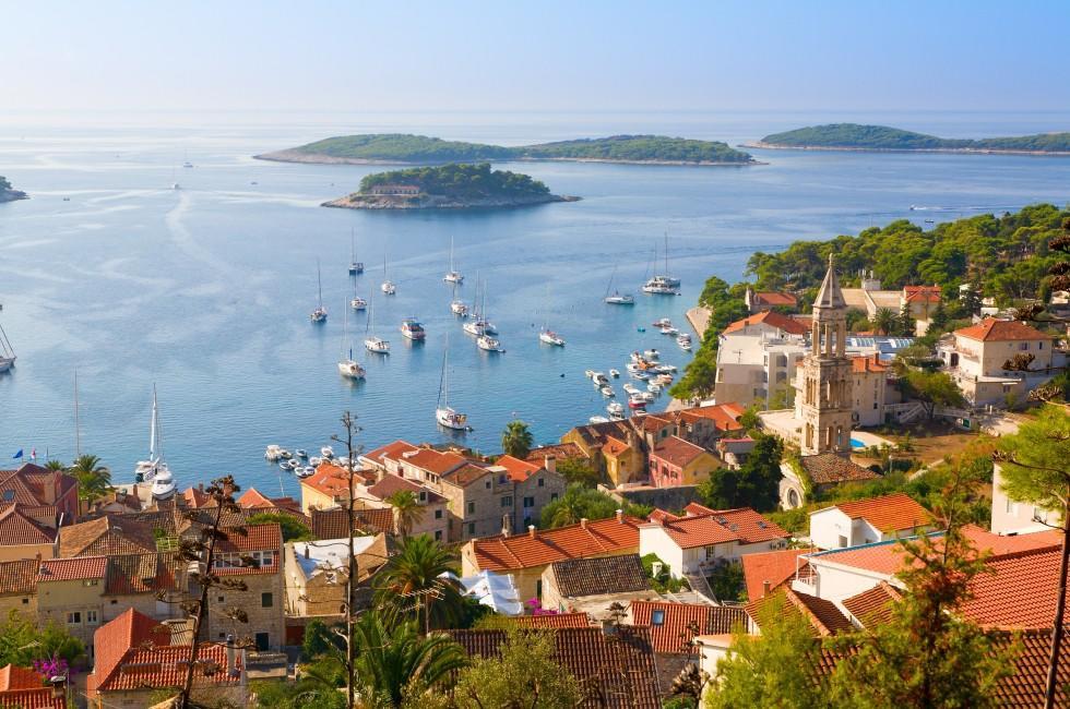 Cityscape, Rooftops, Harbor, Hvar, Split and Central Dalmatia, Croatia