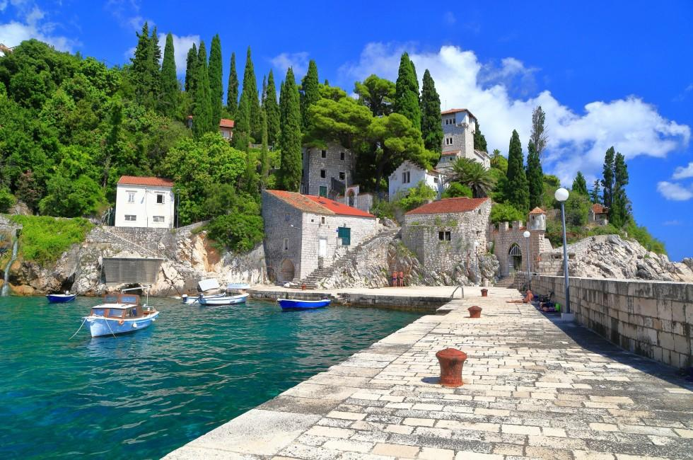 Stone Pier, Harbor, Trsteno, Croatia