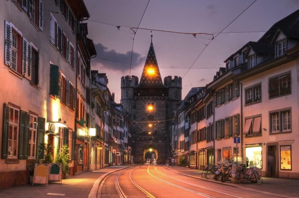 Cityscape, Sunset, Street, Spalentor Gate, Basel, Switzerland