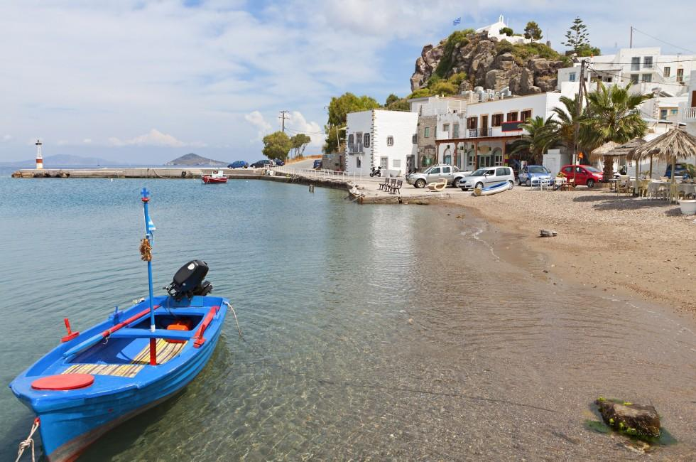 Boat, Beach, Scala, Patmos, Rhodes and the Dodecanese, Greece
