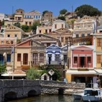 Boats, Bridge, Houses, Simi Island, Rhodes and the Dodecanese