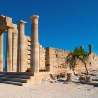 Ruin, Temple, Lindos, Rhodes and the Dodecanese,