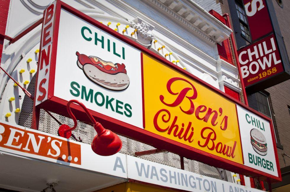 Sign, Ben's Chili Bowl, U Street Corridor, Washington, D.C., USA