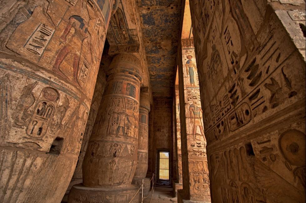 Heiroglyphs, Temple, Medinat Habu, Luxor, Egypt